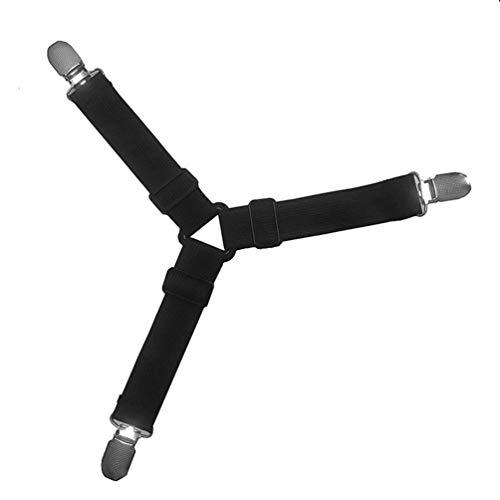 4PCS Triangle Bett Matratze Blatt Clips Greifer Straps Suspender Fastener Holder - schwarz