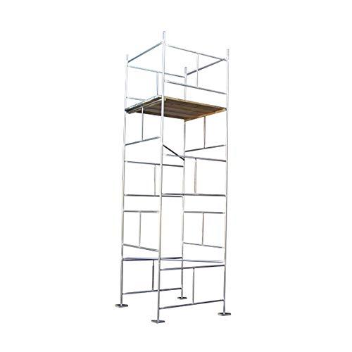 Andamio de 5,18 m, galvanizado, con tablas (base 5,18 m x 121,92 cm x 121,92 cm)