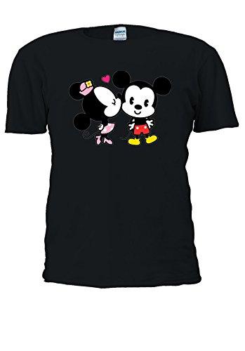 Minnie And Mickey Mouse Cute Kiss Love Novelty Men Women Unisex Top T Shirt-XXL