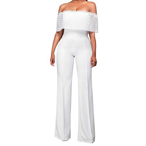 2ee602c6420 LAEMILIA Womens Fashion Plunge Strapless Off Shoulder Wide Leg Pants  Jumpsuit Set Romper Casual Playsuit Tracksuit