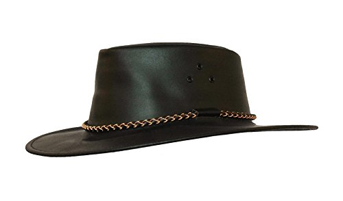 (Kakadu Lederhut Echuca in schwarz mit geschwungener Krempe und Rundkordel-Hutband | Herren Damen Größe L | 2. Wahl)