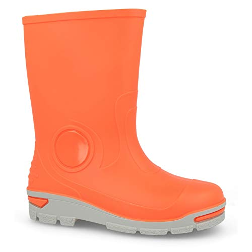 Muf03 Kids Boys Girls Wellington Boots Rainy Snow Wellies - Silver ions Ag+