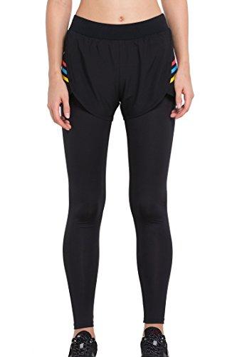 Cody Lundin donna puro black legging falso in due pezzi autunno-inverno moda fitness pantaloni pantaloni di elasticità (XXL, black-b)