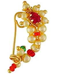 VAMA FASHION (Extra Small Size 2cm) Traditional Maharashtrian (Non-Pierced) Nath / Nose Ring Clip on type , Pink Colour Stone Along With Pearl Beads For Women.