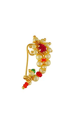 VAMA FASHIONS Gold Plated Nose Pin Maharashtrian style design traditional nath clip on type jewellery.