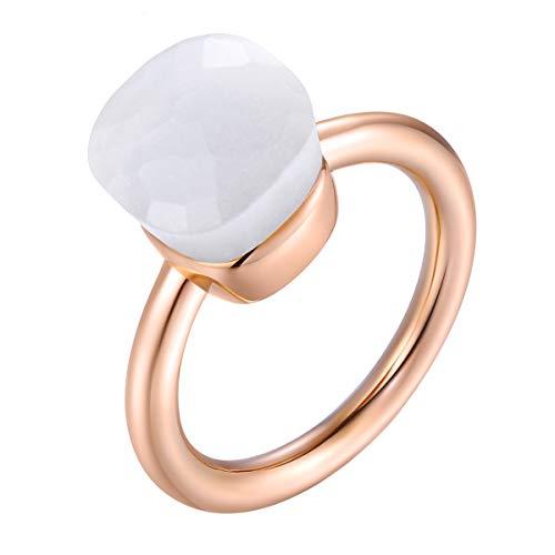 Klassische 14K Rose Gold überzogene Ring massiv 925 Sterling Silber Ringe mit Edelstein-Achat für Frauen Engagement, Hochzeit Schmuck/Muttertags-Geburtstagsgeschenk (White, 60 (19.1))