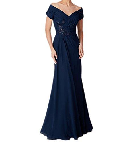 Royaldress Dunkel Blau Chiffon Kurzarm Chiffon brautmutterkleider Partykleider Festlichkleider Bodenlang Dunkel Blau