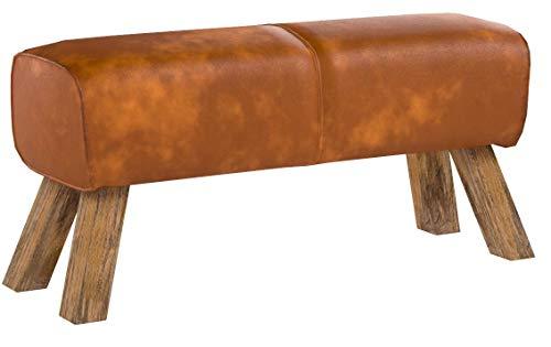 FineBuy Design Sitzhocker FB45549 Holz 90x30x43 cm Leder Modern Springbock | Lederhocker mit Holzbeinen | Massivholz Hocker mit Leder | Springbock Turnbank Gepolstert | Garderobenbank Echtes Leder
