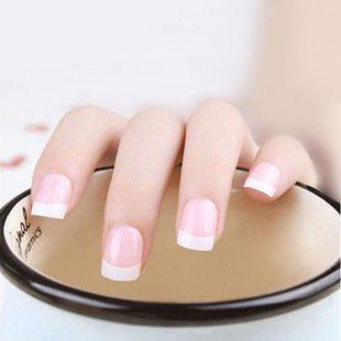 Mimei 24 pezzi unghie finte french con colla, unghie finte corte per donna (2g colla inclusa)