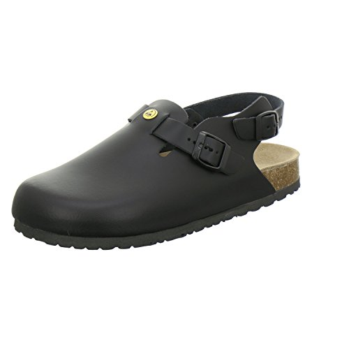 AFS-Schuhe 31940 ESD-Clogs, Bequeme Haus-Schuhe für Damen und Herren, praktische Arbeitsschuhe, hochwertiges, echtes Leder, modische, verstellbare Pantoletten, Made in Germany Größe 43 EU Schwarz (.