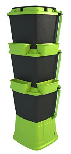 Rainwater Terrace 200 Liter Regentonne, 3 Ebenen, mit 1 Top Pflanzkübel und 4 seitlichen Pflanztöpfen - Hellgrün/Schwarz