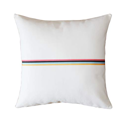 BreezyLife Gestreifter Kissenbezug Minimal dekorativer Kissenbezug Nordic Accent Kissen für Sofa Couch Bauernhaus Cottage Outdoor 18x18 weiß -