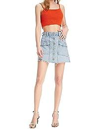 d250d34574 Jeans Falda Moda para Mujer Elegante Media Cintura Denim Mini Sencillos  Falda Color Sólido Un Solo Pecho con Bolsillos Faldas De Una…