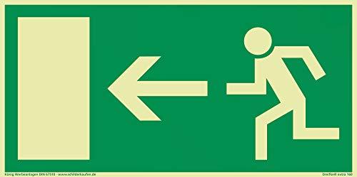 Schild Notausgang Pfeil Links | extra langnachleuchtend | PVC selbstklebend 297x148mm | gemäß BGV 8A | DIN 67510 (Fluchtwegschild Rettungszeichen Rettungsweg) Dreifke® extra 160