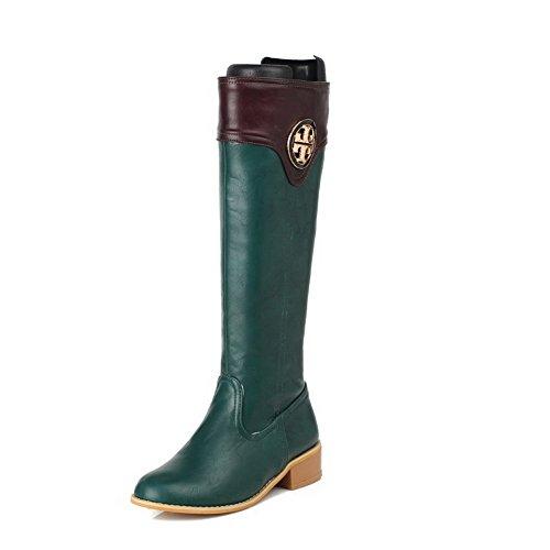 AgooLar Damen Gemischte Farbe Niedriger Absatz Rund Zehe Stiefel mit Metallisch, Grün, 36