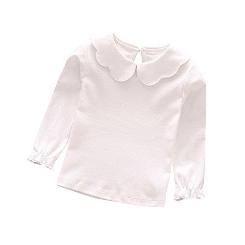 Tangbasi Puppe mit Halsband für Kleinkinder Baby Mädchen lange Ärmel Tops T-Shirt mit Peter Pan-Kragen Jumper Sweatshirt weiß weiß 110 cm - Kinder Peter T-shirt Pan