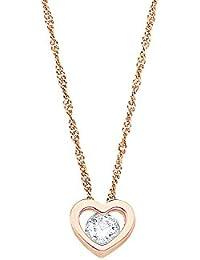 Amor Damen-Kette 42 cm mit Anhänger Herz 925 Silber rosévergoldet Zirkonia weiß