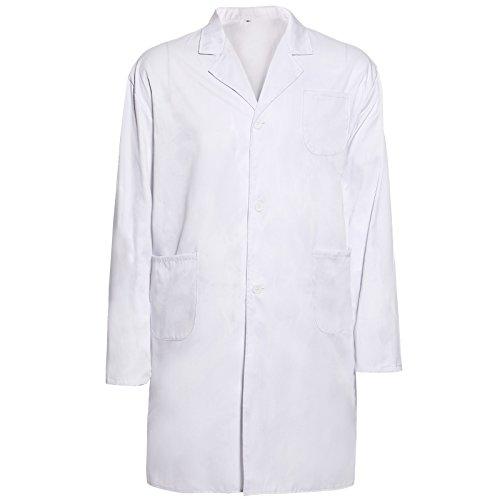 Labormantel Laborkittel Damen Herren Kittel Medizin weiß Arztkittel Berufsbekleidung Arztkittel (L)