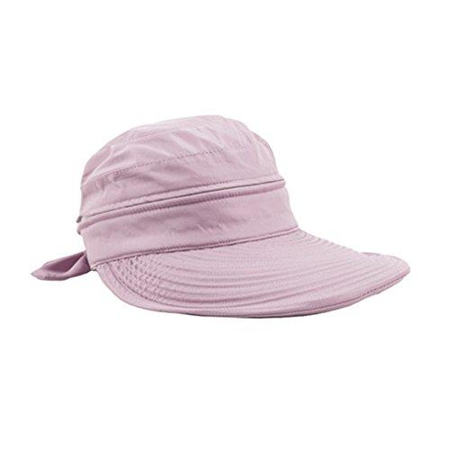 FakeFace Damen Mädchen Sonnenhut Faltbar Sommerhut Strandhut Sonnenschutz Hüte Breite Krempe Hut Kappe aus Baumwolle Anti-UV Rosa