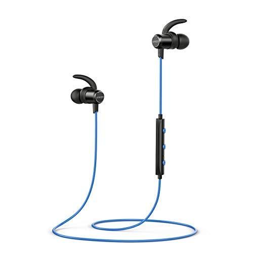 Anker SoundBuds Slim Bluetooth Kopfhörer Kabellos und Magnetverschluss, Wasserfest Sport Headset mit Mikrofon für iPhone, iPad, Samsung, Nexus, HTC und mehr(Blau) thumbnail