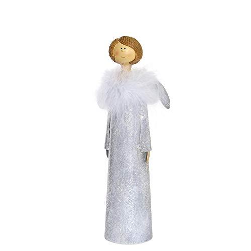 Florissima Metall Engel Grau mit Plüsch 26cm Figur Deko Weihnachten Home Dekoration Weihnachtsdeko Advent