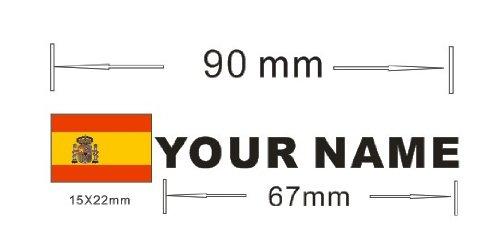Pegatina vinilo impreso para coche, moto, bici, pared, puerta, nevera, carpeta, etc. Bandera mas nombre personalizado