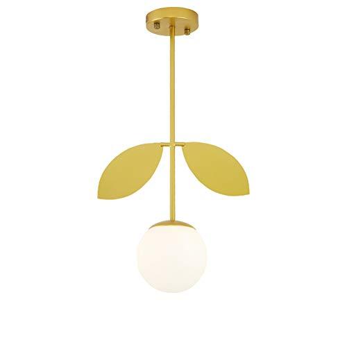 Kreativ Kugelförmig Pendelleuchte E27, Blatt Basierte Design Hängen Flur Balkon Decke]-golden 33x62cm -
