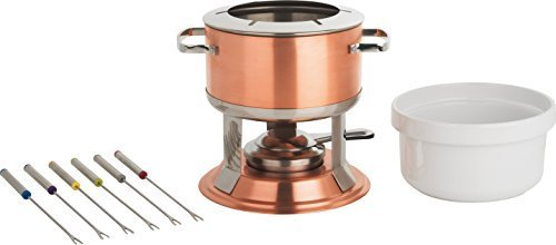 Trudeau Lumina 3 In 1 Copper Fondue Set with Ceramic Insert by Trudeau