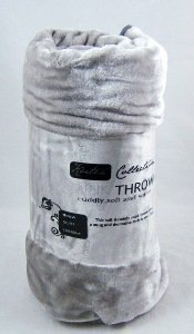Extra Large Mink Faux Fur Throw 200cm x 240cm - SILVER GREY by Bedding Online
