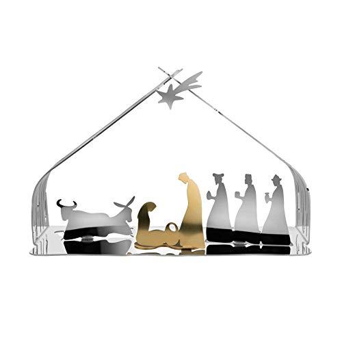 Alessi BM09 Bark Crib Presepe in Acciaio Inossidabile 18/10 E Acciaio Dorato, Lucido