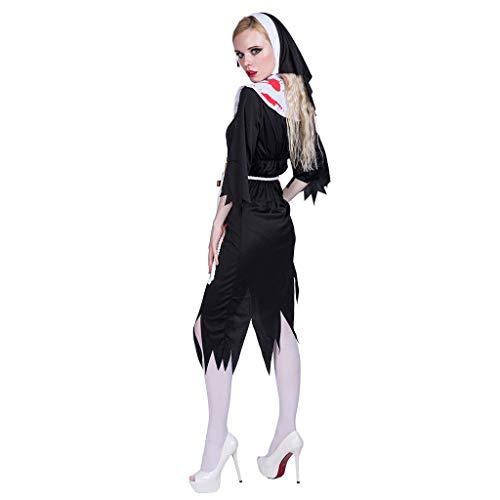LOPILY Kostüme Damen Gruselige Nonne Kostüme mit Gurtel und Haarbedeckung Halloween Kleid Damen mit Kunstblut Druck Faschingskostüme Karneval Erwachsenenkostüme (Schwarz, - Der Edle Ritter Kostüm Für Erwachsene