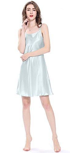 LILYSILK Seide Nachtkleid Mini Nachthemd Damen Nachtwäsche Schlafanzug Kurz 22 Momme Hell Himmel Blau S (Nachtkleid Seide)