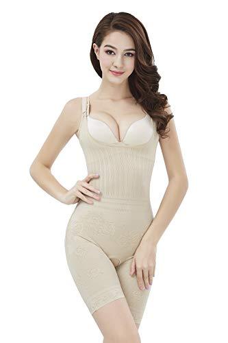 Amhillras Damen Shapewear Body Stark Formend Bauch Weg Miederhosen Figurformend Bodysuit Formende Body Shaper, Beige, M für Taillenumfang 68-74 cm -