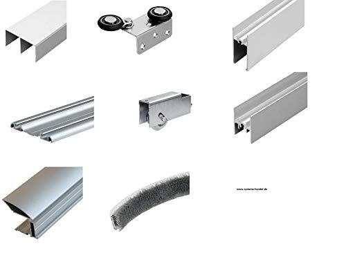 Bodengeführter Schiebetüren Bausatz für 3 Türen, ohne Füllungsmaterilal (Platten, Glas o.ä.)