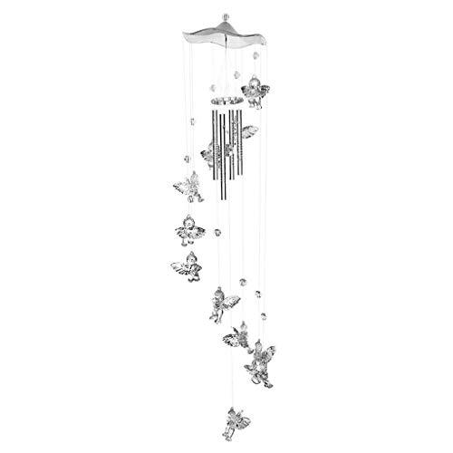 Windspiele Kreative Silber Engel Glück Kolibri Windspiel Wanduhr Geschenk Tür Hängen Dekoration Im Freien Dekoration Handwerk Gartendeko Windspiele säcke (Color : Silver, Größe : 65cm)