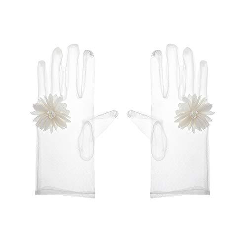 H-Bride Campsis Damen Spitzen Braut Hochzeit Handschuhe weiß Brautzubehör Porm Tüll Handschuh für Hochzeit Party -