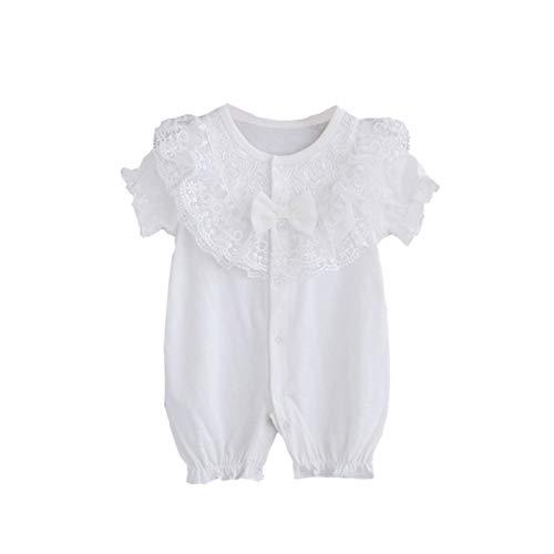Miyanuby Baby Mädchen Kleidung Bowtie Spitze Kurzarm Sommer Baumwolle Strampler Einteilige Body Playsuit für Babys 0-18 Monate