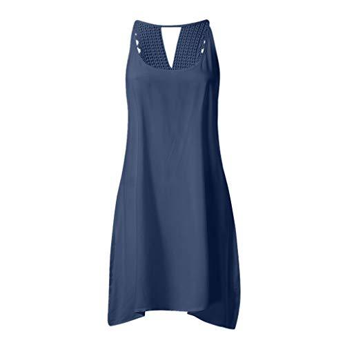 ANFASHION Sommer Spitzensandkleid Ärmellos Blumenkleid Strand Minikleid T-Shirt Kleid Beiläufiges Strandkleid Boho Schulterfreies Blumenkleid ()