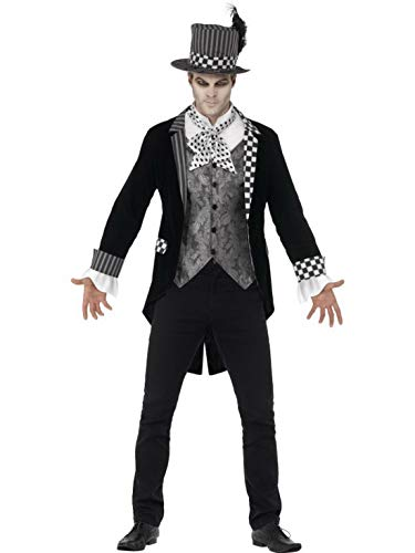 n Männer Kostüm Hochwertiger dunkler Hutmacher mit Jackett vorgetäuschter Weste und Zylinder, Dark Mad Hatter, perfekt für Halloween Karneval und Fasching, XL, Schwarz ()