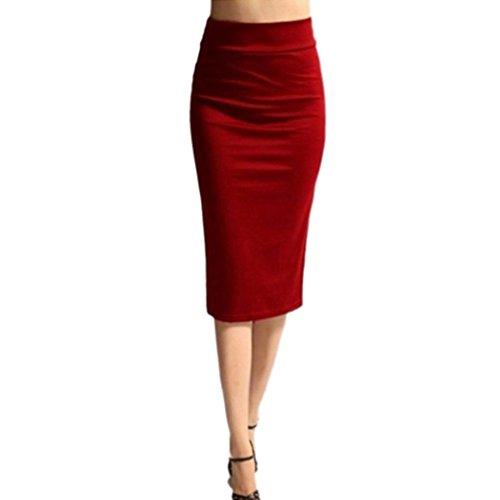 Bleistift Röcke Damen, DoraMe Frauen Hohe Taillen Dünne Stretchy Röcke Knielanges Elastischer Röcke Feste Farbe Mode Paket Hüftrock (Rot, L) (Passend Rock Bleistift)
