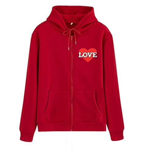 Bfmyxgs Frauen Herbst Und Winter Liebe Print Pullover Tops Liebe Schwarz Kleider Mit Kaputze Mantelkleid Langarm Jacken Pullover