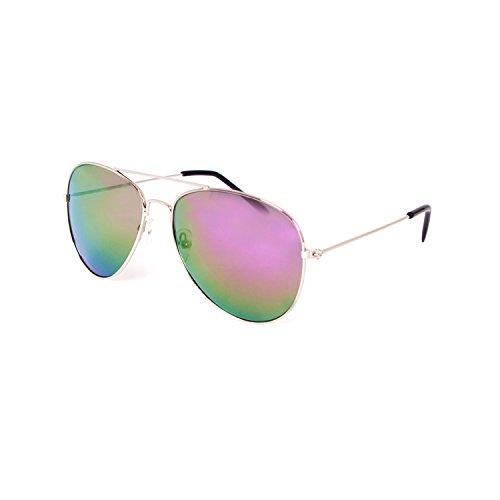 Pilotenbrille Verspiegelt Fliegerbrille Sonnenbrille Pornobrille Brille Aviator Nerd Brille (Bunt...