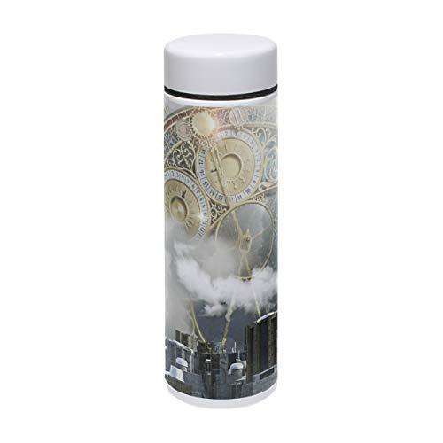 MUOOUM Clock Ballon City Vakuum-isolierte Edelstahl-Reise-Tasse, Sport-Wasserflasche, 200 ml, heiß für 12 Stunden