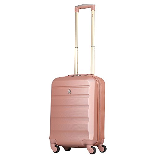 Aerolite ABS Bagage Cabine à Main Valise Rigide Léger 4 Roulettes (Rose Or)