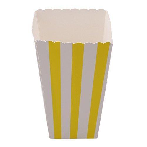 LJSLYJ 12 Stück Stripe Popcorn Tüte Papiertüte Popcorn-Boxen (gelb)