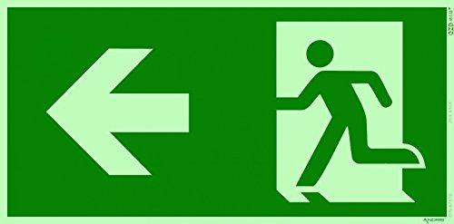 Fluchtweg/Notausgang Rettungsweg Symbol Links ISO Folie lang nachleuchtend selbstklebend 300x150mm Orig. ANDRIS®