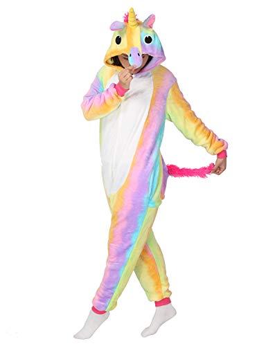Unicorno kigurumi pigiama adulto halloween anime cosplay costume tuta unisex (xl, regenbogen)
