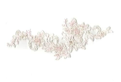 Off Weiß mit rosa Bindekordeln Perlen Spitze Aufnäher Braut Hochzeit Floral Spitze Motiv 22.3cm x 8,5cm-Pro Stück * * Kostenlose UK P & P * * Schnelle Versand Bestellung * * White Lace Floral Applique