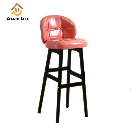 Barhocker Massivholz Hohe Hocker Arc Rückenlehne PU kissen Küche Bar Esszimmerstuhl Mehrere farbe Höhen Verfügbar,Pink,78cm -