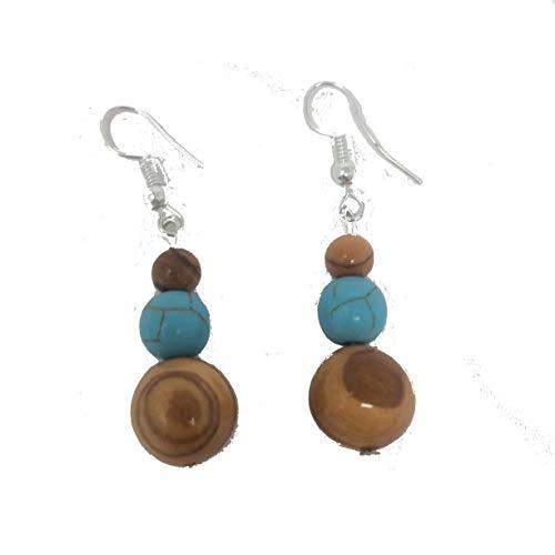 Ohrringe mit verschieden großen Perlen aus echten Olivenholz - natur und türkisblau eingefärbt – handgemacht - Holzschmuck ()